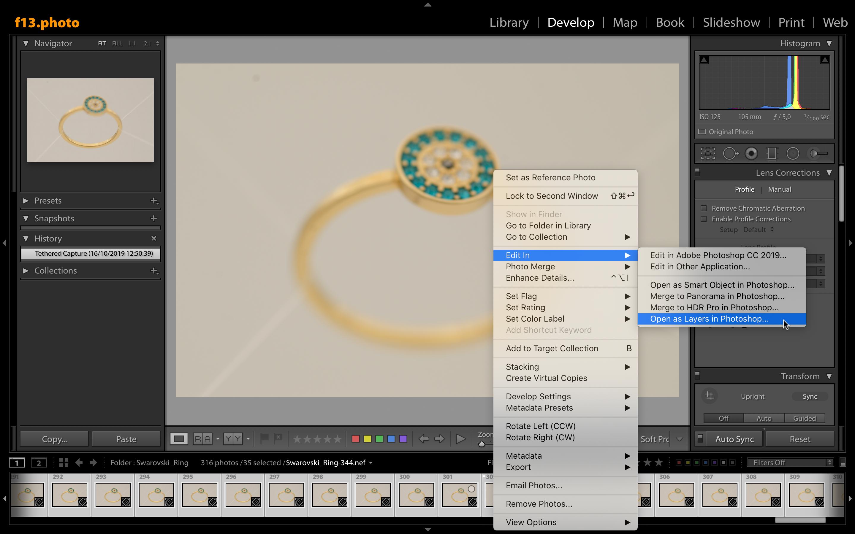 Como abrir todas las fotos de joyas que formarán parte del stacking desde Lightroom a Photoshop