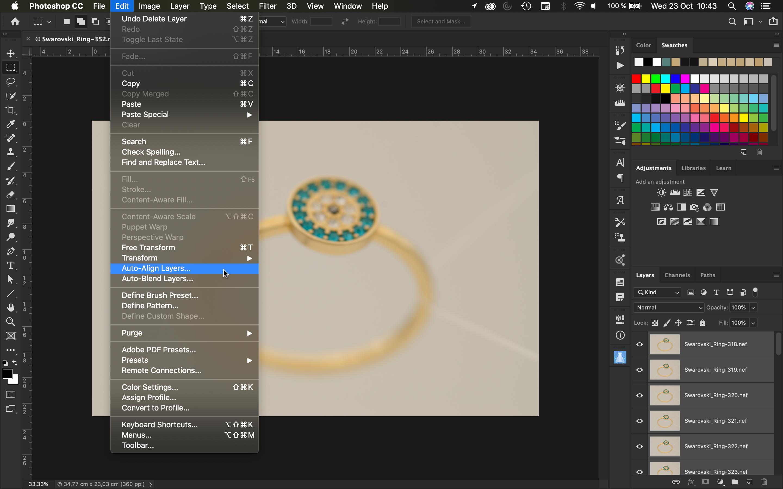 Como alinear en Photoshop las fotografías de joyas para hacer el focus stacking