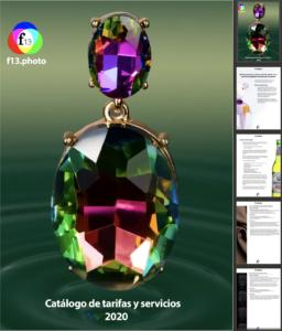 Imagen que muestra el catálogo de tarifas y servicios fotográficos para el año 2020